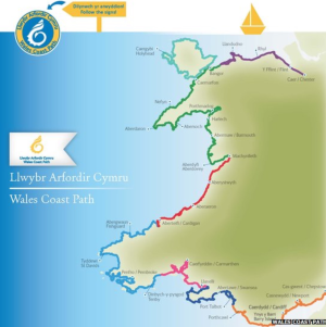 Route of the 1400Km Wales Coastal Path