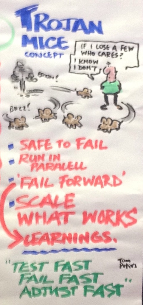 Trojan Mice 'Safe to Fail' Pilots Run in Parallel.  Full graphic at end of post