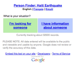 Google Person Finder from the Haiti Earthquake