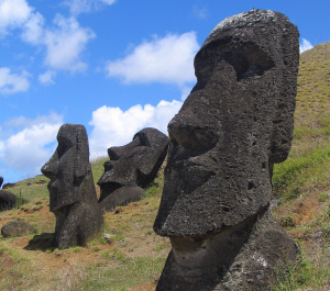 Moai - buried, but that one looks a bit toppled